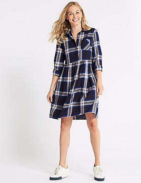 Pure Cotton Checked Drop Waist Dress , NAVY MIX, catlanding