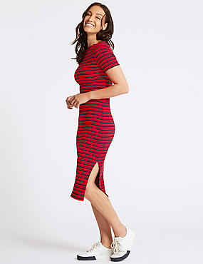 Cotton Rich Striped Bodycon Midi Dress , RED MIX, catlanding
