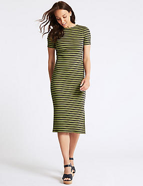 Cotton Rich Striped Bodycon Midi Dress , GREEN MIX, catlanding