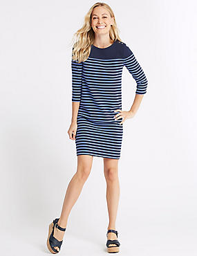 Cotton Rich Striped Tunic Midi Dress , NAVY MIX, catlanding
