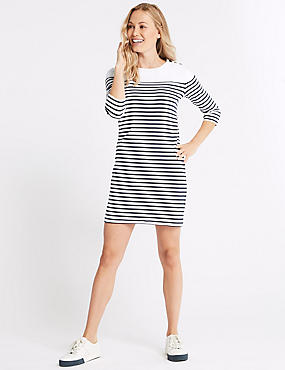 Cotton Rich Striped Tunic Midi Dress , IVORY MIX, catlanding