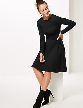 Long Sleeve Skater Dress , BLACK, catlanding