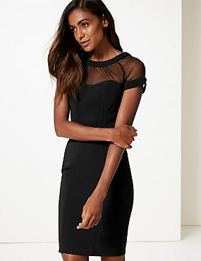 Short Sleeve Bodycon Dress , BLACK, catlanding