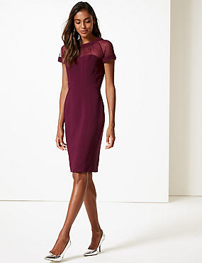 PETITE Mesh Panel Bodycon Midi Dress , PLUM, catlanding