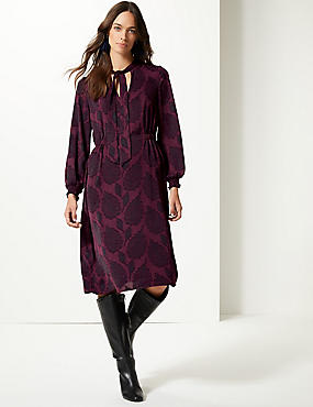 Jacquard Print Long Sleeve Shift Midi Dress , PLUM, catlanding