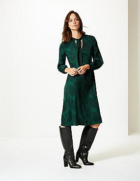 Jacquard Print Long Sleeve Shift Midi Dress , GREEN, catlanding