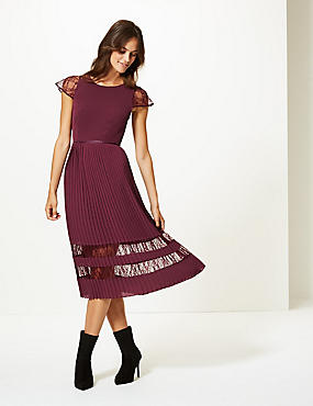 Lace Short Sleeve Skater Midi Dress , BURGUNDY, catlanding