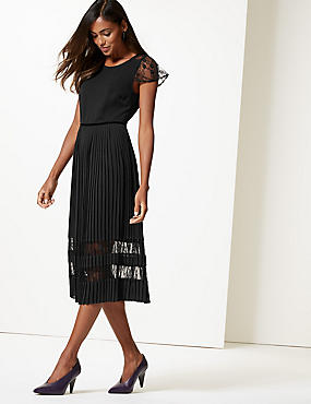 Lace Short Sleeve Skater Midi Dress , BLACK, catlanding