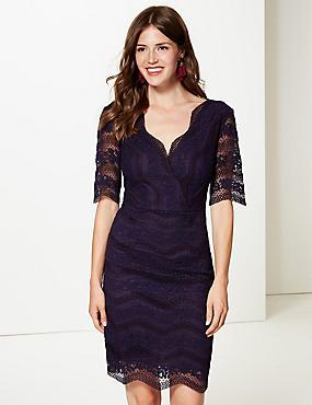 Lace Half Sleeve Bodycon Dress , PURPLE, catlanding