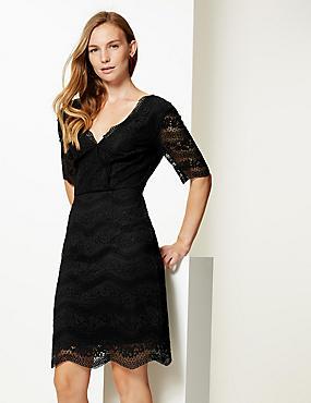 Lace Half Sleeve Bodycon Dress , BLACK, catlanding
