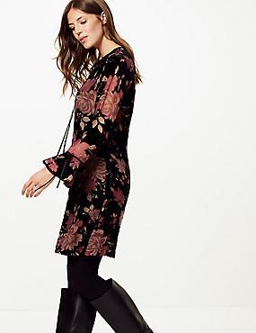 Floral Print Long Sleeve Swing Dress , PLUM MIX, catlanding