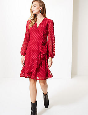 Spotted Dobby Long Sleeve Wrap Dress, CRANBERRY, catlanding
