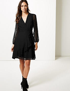 Spotted Dobby Long Sleeve Wrap Dress, BLACK, catlanding