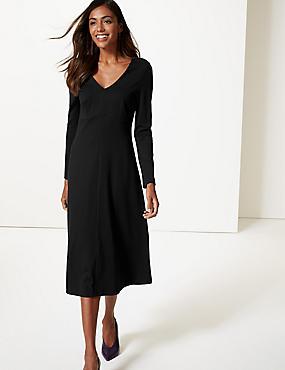 Long Sleeve Skater Midi Dress , BLACK, catlanding