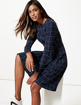 Checked Long Sleeve Skater Dress , NAVY MIX, catlanding