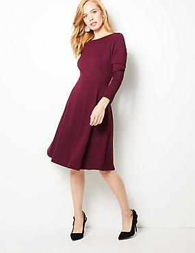 PETITE Long Sleeve Skater Dress , PLUM, catlanding