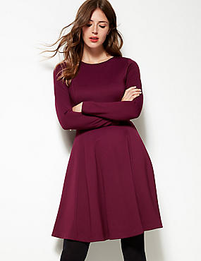 Long Sleeve Skater Dress , PLUM, catlanding