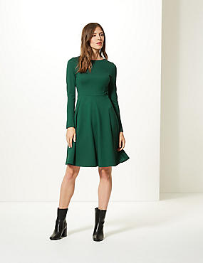 Long Sleeve Skater Dress , BOTTLE GREEN, catlanding