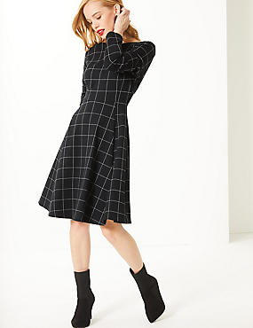 PETITE Checked Long Sleeve Skater Dress , BLACK MIX, catlanding