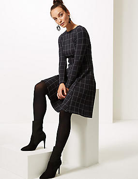 Checked Long Sleeve Skater Dress , BLACK MIX, catlanding