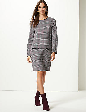 Checked Long Sleeve Shift Dress , BLACK MIX, catlanding