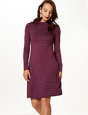 Printed Long Sleeve Swing Dress , PLUM MIX, catlanding