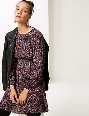 Floral Print Long Sleeve Skater Dress , PINK MIX, catlanding