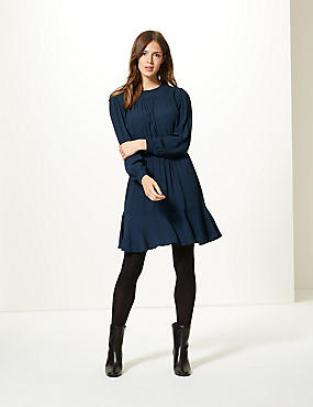 Ruffle Hem Long Sleeve Skater Dress , NAVY, catlanding