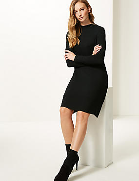 Jersey Long Sleeve Swing Dress  , BLACK, catlanding