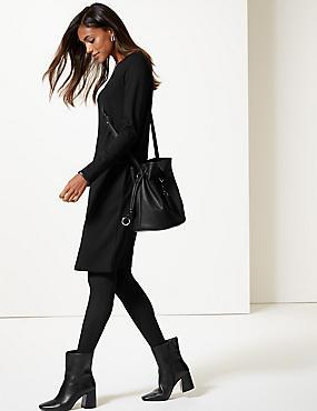 Ponte Long Sleeve Shift Dress, BLACK, catlanding