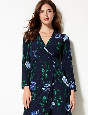 Floral Print Long Sleeve Wrap Midi Dress , NAVY MIX, catlanding