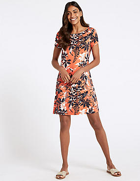 Floral Print Short Sleeve Swing Dress, CORAL MIX, catlanding