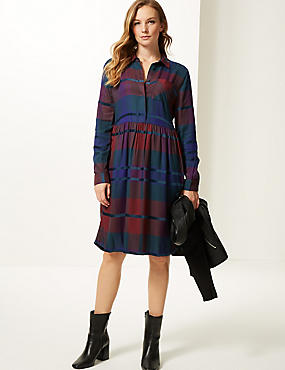 Checked Long Sleeve Drop Waist Dress  , MULTI, catlanding