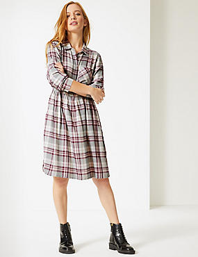 PETITE Checked Long Sleeve Drop Waist Dress , NATURAL MIX, catlanding
