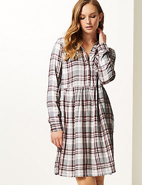 Checked Long Sleeve Drop Waist Dress , NATURAL MIX, catlanding