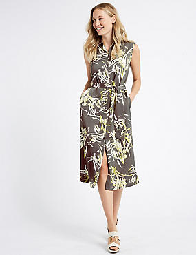 Floral Print Spilt Hem Shirt Midi Dress, GREY MIX, catlanding