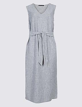 Linen Blend Striped Tunic Midi Dress, BLUE MIX, catlanding