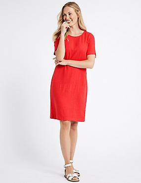 Linen Blend Short Sleeve Tunic Dress , RED, catlanding