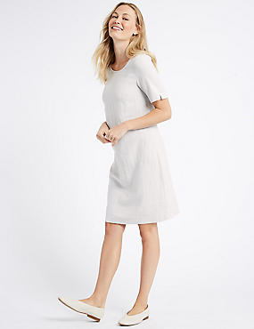 Linen Blend Short Sleeve Tunic Dress, GREY, catlanding