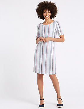 Linen Blend Striped Tunic Dress , MULTI, catlanding