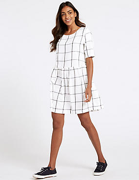 Pure Cotton Checked Drop Waist Dress , IVORY MIX, catlanding