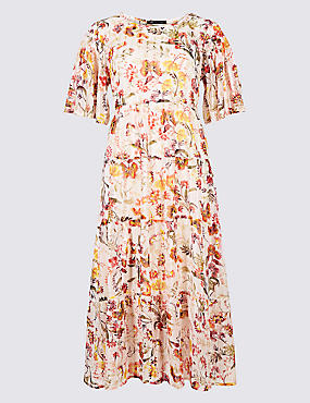 Floral Print Half Sleeve Skater Midi Dress, IVORY MIX, catlanding