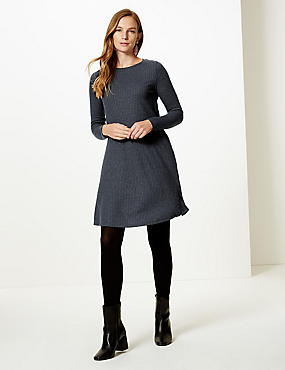 Textured Long Sleeve Swing Dress , NAVY, catlanding