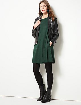 Textured Long Sleeve Swing Dress , GREEN, catlanding