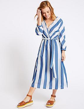 PETITE Pure Cotton Striped Wrap Midi Dress, NAVY MIX, catlanding