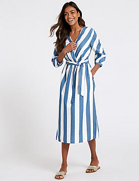 Pure Cotton Striped Midi Dress, NAVY MIX, catlanding