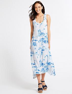 Printed Maxi Dress , BLUE MIX, catlanding