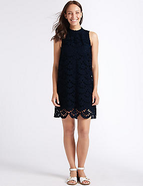 Pure Cotton Embroidered Tunic Dress, NAVY, catlanding