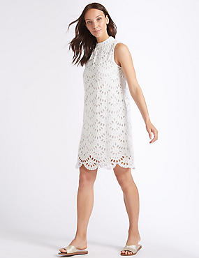 Pure Cotton Embroidered Tunic Dress, IVORY, catlanding
