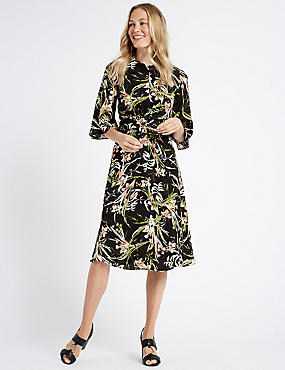 Floral Jacquard 3/4 Sleeve Skater Midi Dress , BLACK MIX, catlanding
